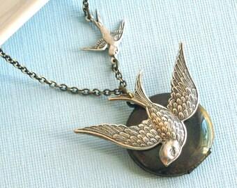 Bird Locket Necklace - Silver, Bird Jewelry, Mixed Metal, Brass