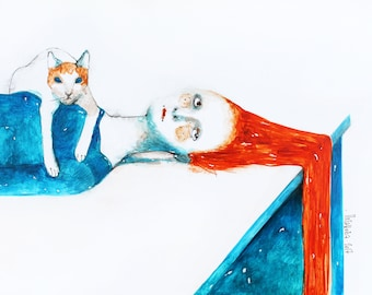 Watercolor illustration of a redhead woman with a cat. Cat watercolor painting. Watercolor portrait of a lying woman with a cat. Cat art