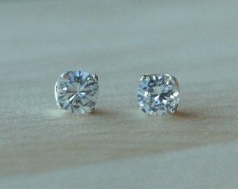 7mm Cubic Zirconia Argentium Silver Earrings - 4 Prong - Nickel Free Hypoallergenic Stud Earrings