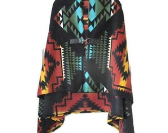 Poncho Native American Style Black Panther Shawl Cape Women's Warm Blanket Poncho Vintage Aztec Print Tribal, Gift For Her Handmade Scarf