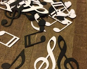 Black and White Music Notes Table Confetti / Musical Theme Party Decor Decoration Table Scrapbook Embellishments Centerpiece Die Cut C005