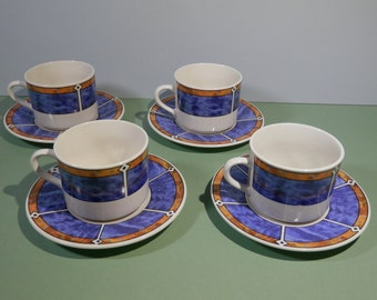 """8 Pc Flat China Cup & Saucer Set """"Totally Today Pattern Blue Marbled Adirondack Southwestern Navajo Breakfast Lunch Dinnerware Tableware NOS"""