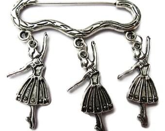 Ballerina ballet silver tone charm brooch / pin