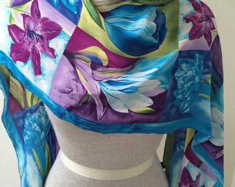 FREE SHIPPING! Adrienne Vittadini / Spring Blue/Purple/Green/ Silk Scarf by Adrienne Vittadini