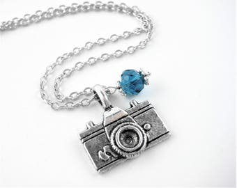 Birthstone Camera Necklace - Birthstone Jewelry - Sterling Silver Camera Jewelry - Camera Gift - Camera Pendant Necklace