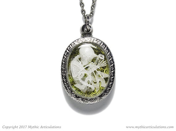 Imp skeleton pendant with moss taxidermy necklace aloadofball Image collections