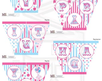 Carnival Birthday Banner, Pink & Blue