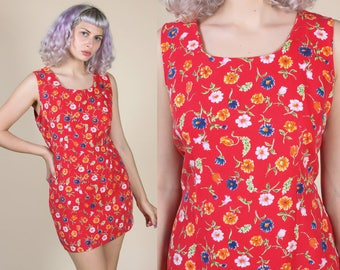 90s Mini Dress // Vintage Red Floral Grunge Tank Minidress - XXL