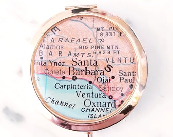 Santa Barbara Mirror Compact - Compact Mirror - Makeup Mirror - Purse Mirror - Bridesmaid Gift - Honeymoon Gift - Bridesmaid Proposal