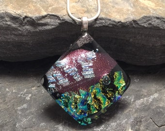 dichroic glass necklace, dichroic glass,  Dichroic Glass Pendant, Fused Glass Jewelry, handmade Dichroic glass Necklace, dichroic necklace