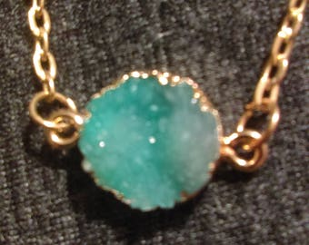 Green druzy gemstone necklace on gold chain 16.5 inches with 2 inch extender