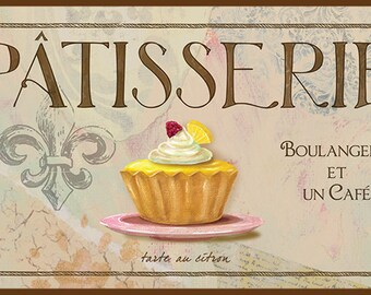 Patisserie III French Wall Decor, French Kitchen Decor, Lemon Tart,French  Pastry Art,Paris Fleur De Lis