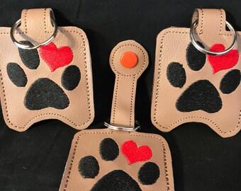 Paw Print with heart, sanitizer holder, dog waste bag holder, doggie poo bag holder, key fob, snap tab