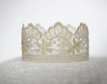 Diana Newborn Lace Baby Crown Photography Prop Gold Silver Birthday Wedding Cake Topper