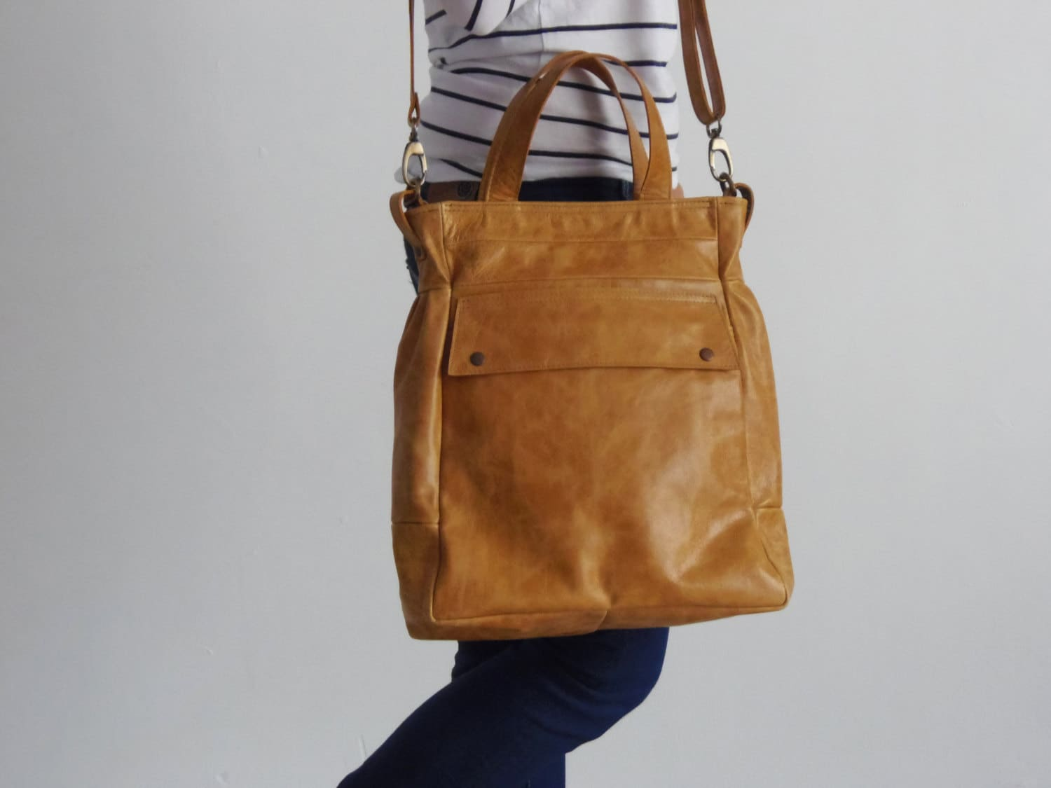 Convertible bag Convertible backpack tote Tan leather tote