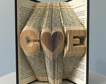 Personalized Anniversary Gift for Her for Wife for Girlfriend - Custom Romantic Folded Book Art (2 initials + heart) - I Love You Home Decor
