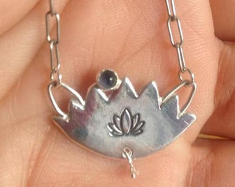 Sterling Silver Lotus Flower with Iolite