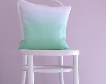 SECOND - Pale mint and white linen ombre cushion cover. Dip dyed throw pillow / cushion cover in pastel green and white.