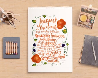August Quote | Hand-lettered Quote 8x10 Print