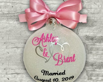 Engagement Ornament, Engagement Gift, Personalized Christmas Tree Ornaments, Wedding Ornament, 1st Christmas, Anniversary