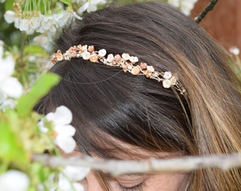 Copper and rose gold bridal headband