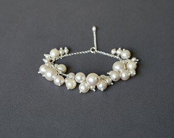Wedding Bracelet For Bride Pearl Silver Bridal Bracelet White Pearl Bracelet