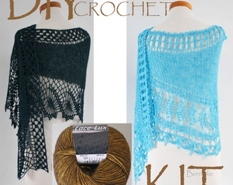 DIY Crochet Kit, Crochet shawl kit, Oswin or Julietta pattern, Dark Gold !!!!