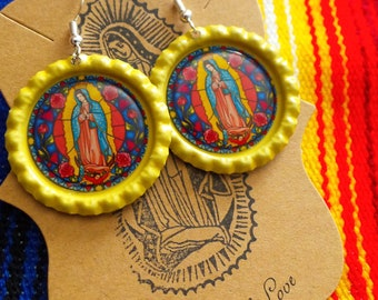 Lady of Guadalupe Stained Glass Bottle Cap Earrings