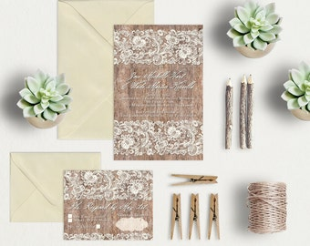 Lace and Wood Wedding Invitations / Wood & Lace Wedding Invitation / PRINTED Wedding Invitations RSVP Cards / Rustic Chic / Rustic Weddings