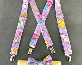Easter Bunny and Eggs Suspenders - Purple Easter Neck Tie - Suspender and Bow Tie Set - Baby's 1st Easter Outfit - Holiday Photo Prop