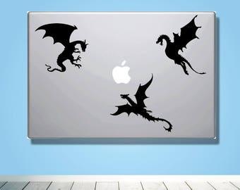 Laptop Macbook VINYL DECAL - Inspired by Game of Thrones - Custom laptop Decal for boyfriend girlfriend friend  - Gift - Dragons