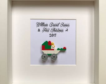 LEGO® Baby's First Christmas Gift, Personalised Baby's First Christmas Gift Frame