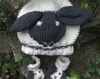 KNITTING PATTERNS for BABIES in pdf | Little Sheep Hat and Little Sheep Booties 2 Pattern Deal, cute sheep patterns to make for a new baby.