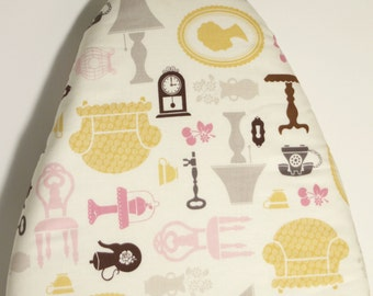 TABLETOP PADDED Ironing Board Cover Riley Blake Daisy Cottage household items in gray pink yellow brown elastic around edges