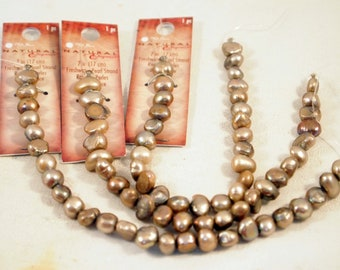 "DESTASH NEW ~ One 7"" Stand of 8mm Freshwater Pearls Brown Pearls Jewelry Supplies New Stock  Beading Supplies  CKDesignsUS"