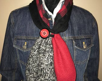 Red and black neck warmer