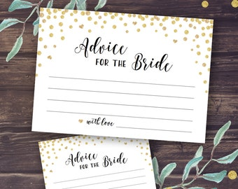 Advice for the Bride and Groom, Bridal Shower Advice Cards, Printable Wedding Advice for the Bride, Instant Download, Gold Marriage Advice