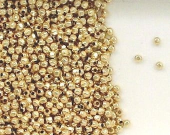 12K Gold Filled 2mm Faceted Round Accent Beads, Choice Lot Size & Price