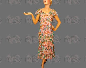 Lovely 1920s Sheer Floral Chiffon Tea Dress with Capelet Effect, Ruffle, Midi Length, Great Colours, a bit AS IS