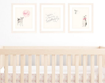 Baby Girl Nursery Decor, Set of 3 8x10 / A4 Art Prints, Pink Shabby Chic Decor Wall art, Animal Watercolour Illustrations of Deer and Bunny