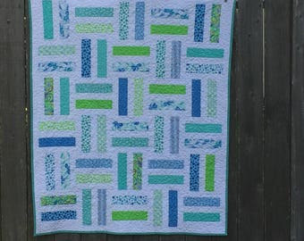 """Teal, Blue, and Green Baby Quilt """"Bailey"""""""