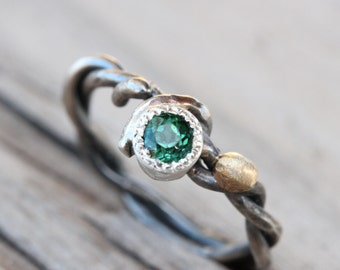 Teal Indicolite Tourmaline Ring Silver Gold Woodland - Winding Branch