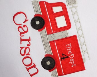 Fire Truck Birthday T-shirt Personalized
