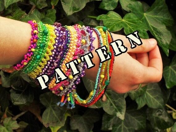 Pattern Tutorial Beaded Cuff Bracelet Statement Jewelry Crochet