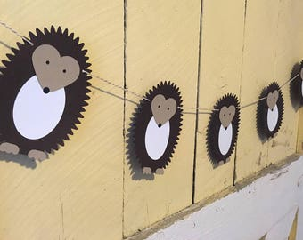 Hedgehog Banner -- Woodland, Baby Shower, Nursery, Birthday Party