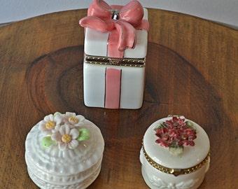 Three Trinket / Pill Boxes, Trinket Box Collectibles, Vintage collectible, Vanity Decor,  Box Collectibles, Jewelry Box, Porcelain Box