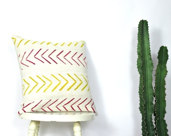 White Mustard and Violet Arrow Print Mudcloth Pillow Cover /Decorative Throw Cushion Yellow African Organic Cotton Natural Dye Maroon Accent