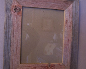 Hand Crafted Picture Frame, Old Barn Boards, 8 x 10, Red Barn Wood, Rustic Picture Frame
