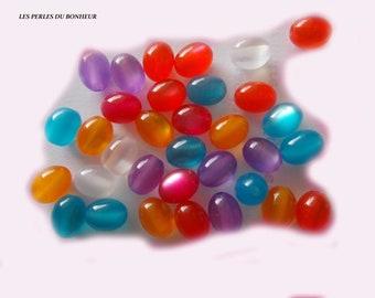 oval set of 20 Acrylic beads