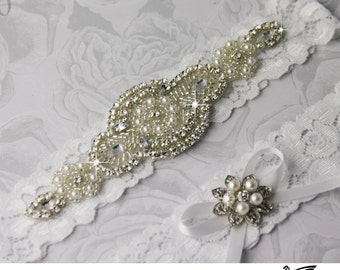 Wedding Garter Set, Wedding Garter Belt, Wedding Garter, Wedding Garter Set, Stretch Lace Garter, Crystal Rhinestone Garter Set